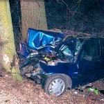 Po wypadku samochód był kompletnie zniszczony