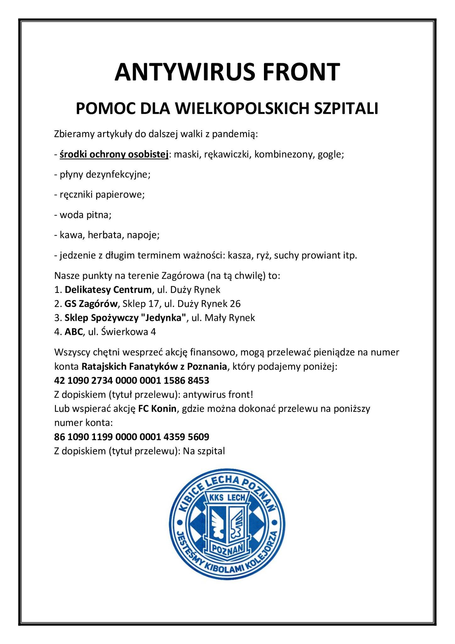 Organizują zbiórkę dla wielkopolskich szpitali
